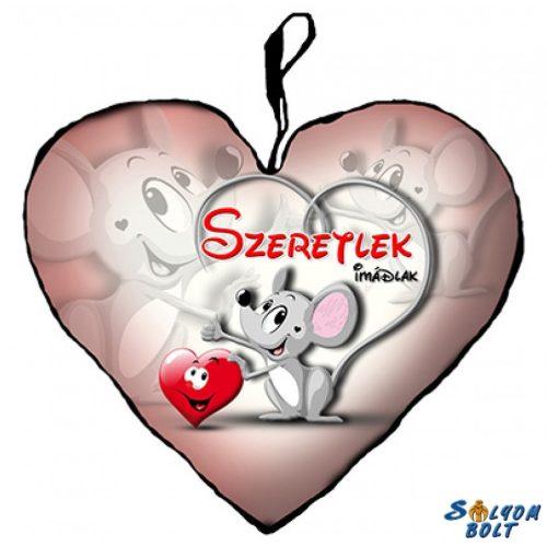 Szív alakú párna, egérke, szeretlek