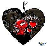 Szív alakú párna, Imádlak, fekete ördög