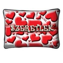 Díszpárna, szívek, szeretlek, Valentin nap, szerelmes ajándék