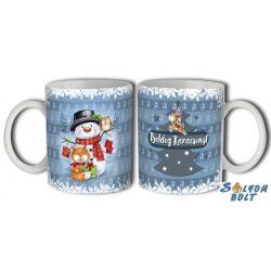 Bögre karácsonyra, hóember, róka, bagoly, rénszarvas
