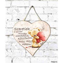 Szív tábla falra, Maci szívvel, Szeretlek a szívem minden szeretetével, szerelmes ajándék