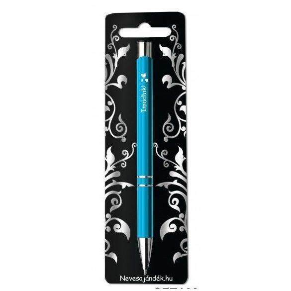 Gravírozott toll, Imádlak, kék, szerelmes ajándék