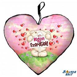 Szív alakú párna, Pimi maci táblával, nagyon szeretlek