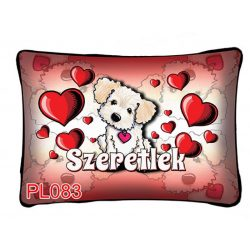 Díszpárna, szeretlek, világos kutyus, szerelmes ajándék