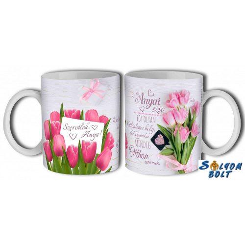 Bögre, Anyák napja, rózsaszín tulipánok, anya