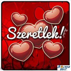 Szerelmes hűtőmágnes, szeretlek, nagy piros szívek