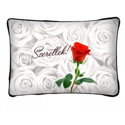 Díszpárna, szeretlek, rózsaszál, szerelmes ajándék