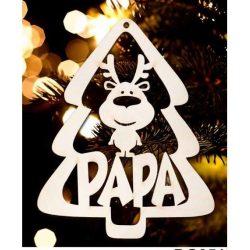 Karácsonyfa dísz, Papa, fenyőfa és rénszarvas