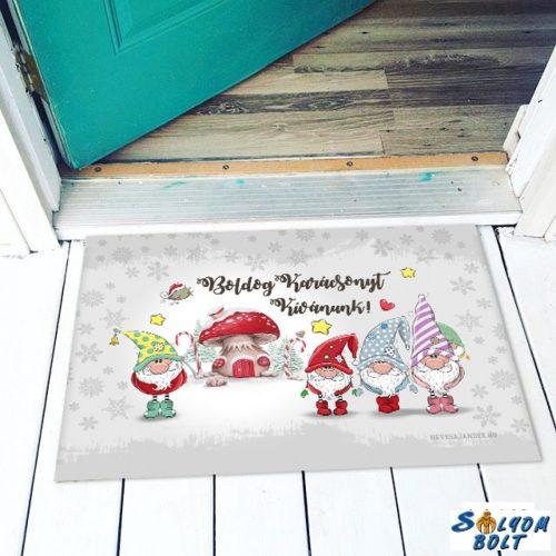 Vicces színes lábtörlő, Boldog karácsonyt, kis manók