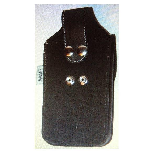 Fekete bőr övtáska, övre fűzhető telefontok