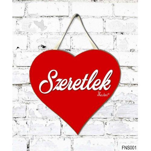 Szív tábla falra, szeretlek