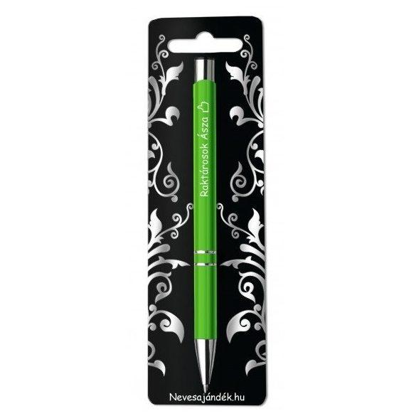 Gravírozott toll, Raktárosok ásza, zöld
