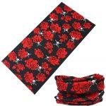 Csősál, piros rózsák koponyákkal
