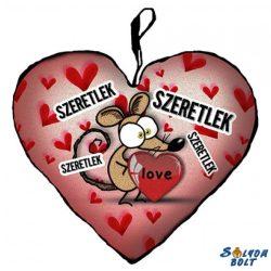 Szív alakú párna, szeretlek, barna egérke