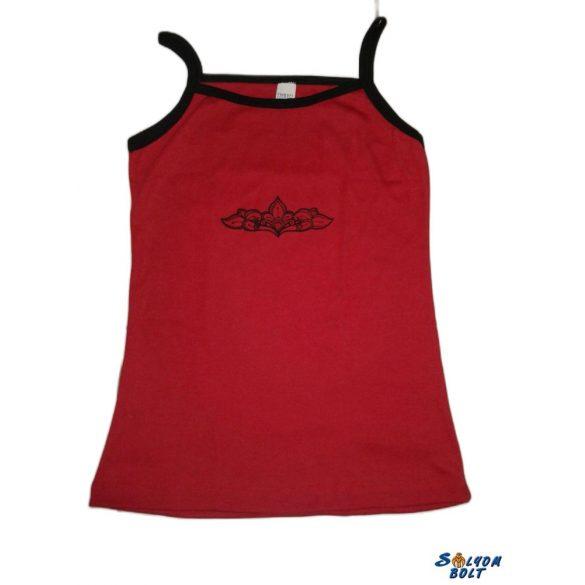Palmetta mintás piros top, akciós kifutó termék