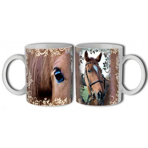 Lovas bögre, barna ló virágokkal