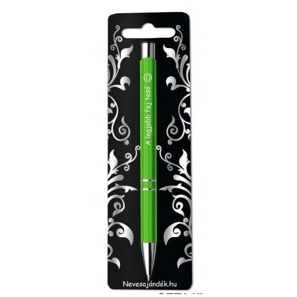 Gravírozott toll, A legjobb fej tesó, zöld