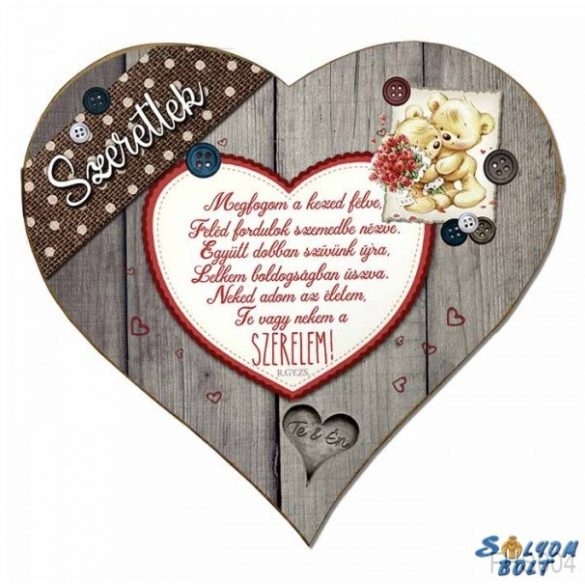 Szív hűtőmágnes, macik, Megfogom a kezed, szerelmes ajándék