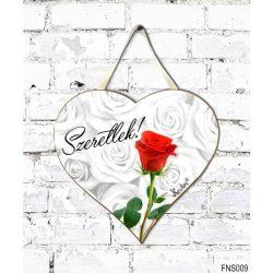 Szív tábla falra, piros rózsa, szeretlek, szerelmes ajándék