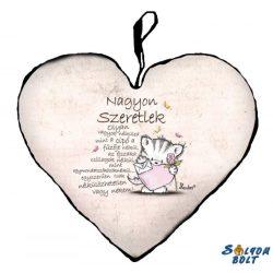 Szív alakú párna, Nélkülözhetetlen vagy nekem, szeretlek, cica