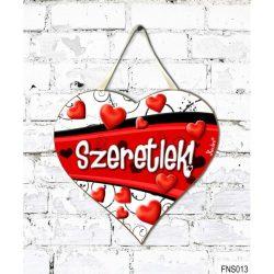 Szív tábla falra, szívek, piros sávon szeretlek, szerelmes ajándék
