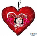 Szív alakú párna, kicsi kutya, szeretlek
