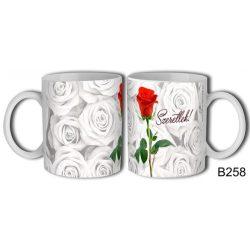 Szerelmes bögre, szeretlek, egy szál vörös rózsa