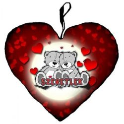 Szerelmes szív alakú párna, maci pár, szívek, szeretlek