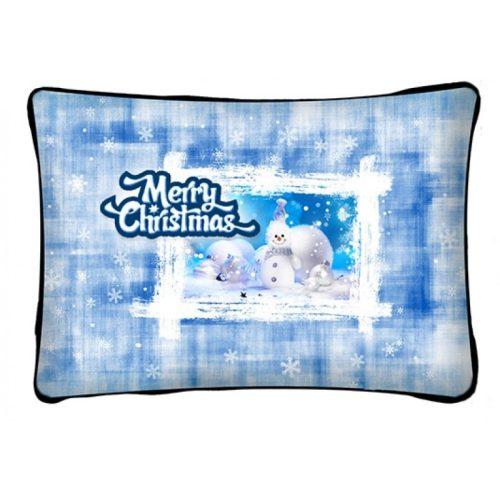 Díszpárna karácsonyra, kék hóember