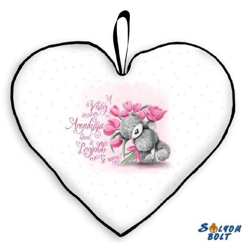 Szív alakú párna, tulipánok, anya