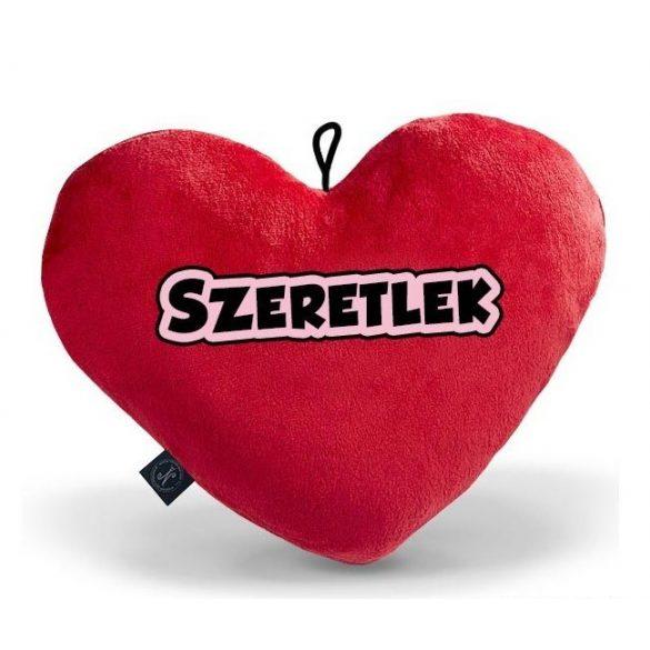 Szív alakú párna, piros plüss párna, szeretlek felirat