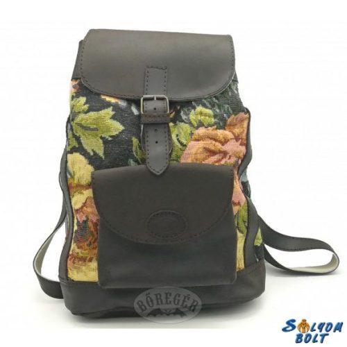 Bőr-szövet hátitáska, hátizsák, virág mintával