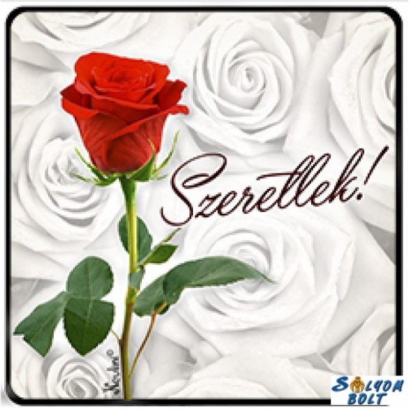 Szerelmes hűtőmágnes, szeretlek, piros rózsa