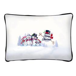 Díszpárna karácsonyra, hóember család