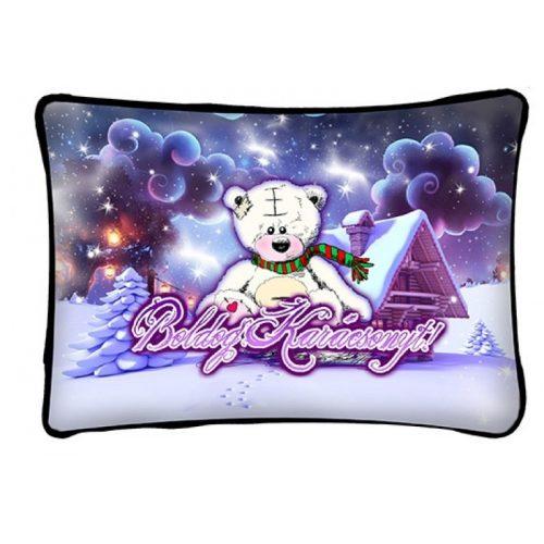 Díszpárna karácsonyra, fehér maci