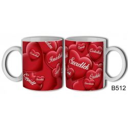 Szerelmes bögre, szeretlek, imádlak, piros szívek