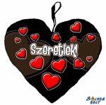 Szív alakú párna, fekete, szívek, szeretlek