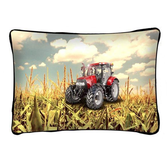 Díszpárna, traktor piros színben