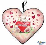 Szív alakú párna, ülő Pimi maci szívvel, szeretlek