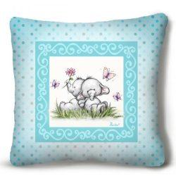 Kicsi plüss díszpárna, kis elefántok, kék háttér