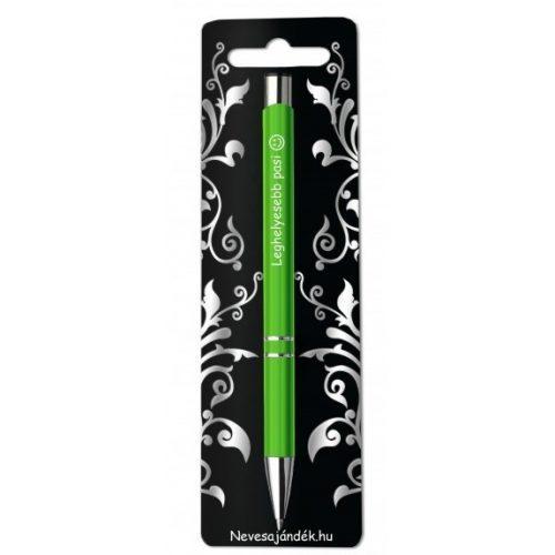 Gravírozott toll, Leghelyesebb pasi, zöld, szerelmes ajándék