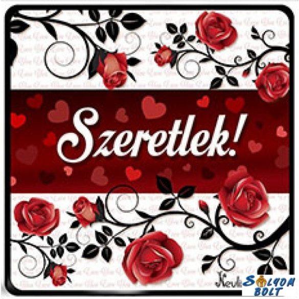 Szerelmes hűtőmágnes, futó rózsák, szeretlek