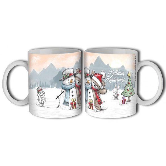 Bögre karácsonyra, maci és hóember