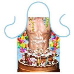 Szakács kötény, születésnapi tortás, férfiaknak, választható számmal