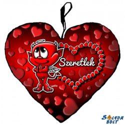 Szív alakú párna, ördög nagy szívvel, szeretlek