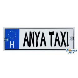 Vicces Anya taxi rendszámtábla