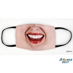 Vicces szájmaszk, rúzsos női száj