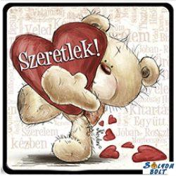 Szerelmes hűtőmágnes, maci, szív, szeretlek