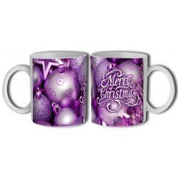 Bögre karácsonyra, lila díszek