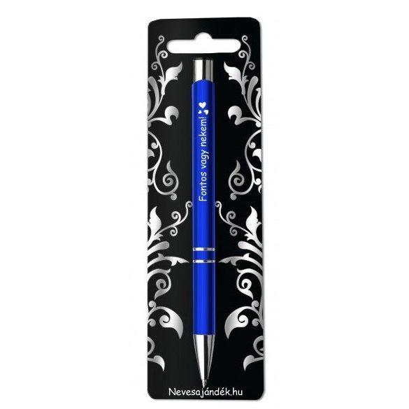 Gravírozott toll, Fontos vagy nekem, kék, szerelmes ajándék